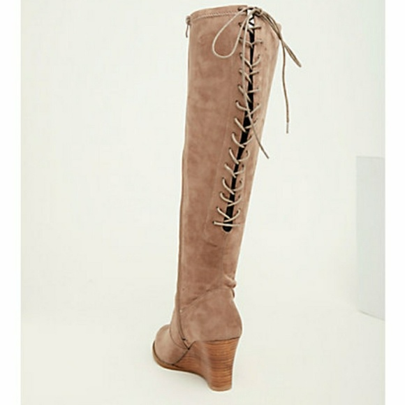 torrid Shoes - Faux Suede Lace Up Back Wedge Boots